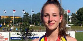 Livia Fuchs nach ihrem Sieg an der U16-Schweizermeisterschaft im Fünfkampf.