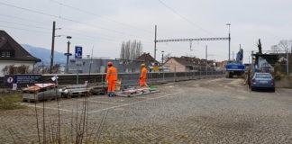 Die Bauarbeiten für die neue Bushaltestelle beim Bahnhof Zollikon schreiten voran.