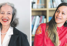 Gertrud Leutenegger (links), Kunstpreisträgerin Zollikon 2021, Tabea Steiner (rechts) Förderpreisträgerin Zollikon 2021. (Bild: Manuel Bauer)