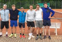 Sechs Spieler des 3.-Liga-Aufstiegsteams, von links: Simon Binder, John Boyens, Atsushi Sueoka, Christopher Grübl, Marc Glaser, Marco Ritter. (Bild: zvg)