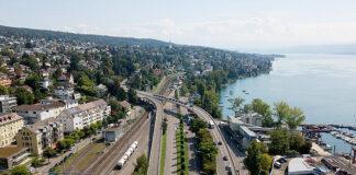 Der Blick auf die Überführung an der Dufourstrasse von Zürich aus. (Bild: zvg)